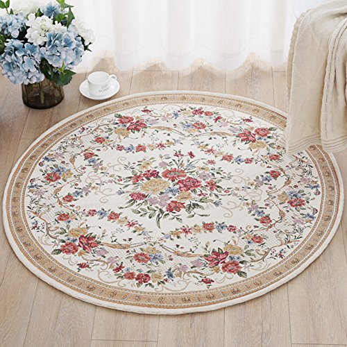 """Ustide Traditional Oriental Floral Round Area Rugs Romantic Rose Design Rustic Country Floor Rugs on Sale 39.3""""x39.3"""" Review"""