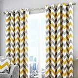 Fusion - Chevron - 100% Cotton Ready Made Lined Eyelet Curtains - 90' Width x 90' Drop (229 x 229cm), Ochre Yellow