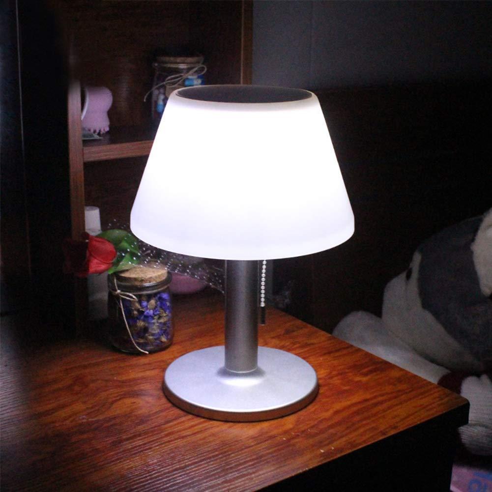 Cuarto de Estar Dormitorio paletur88 LED Solar L/ámpara de Mesa Comedor Acero Inoxidable Noche Luz para Mesita 10 Leds Impermeable Jard/ín Exterior Luz Solar Blanco 6500K Escritorio L/ámpara