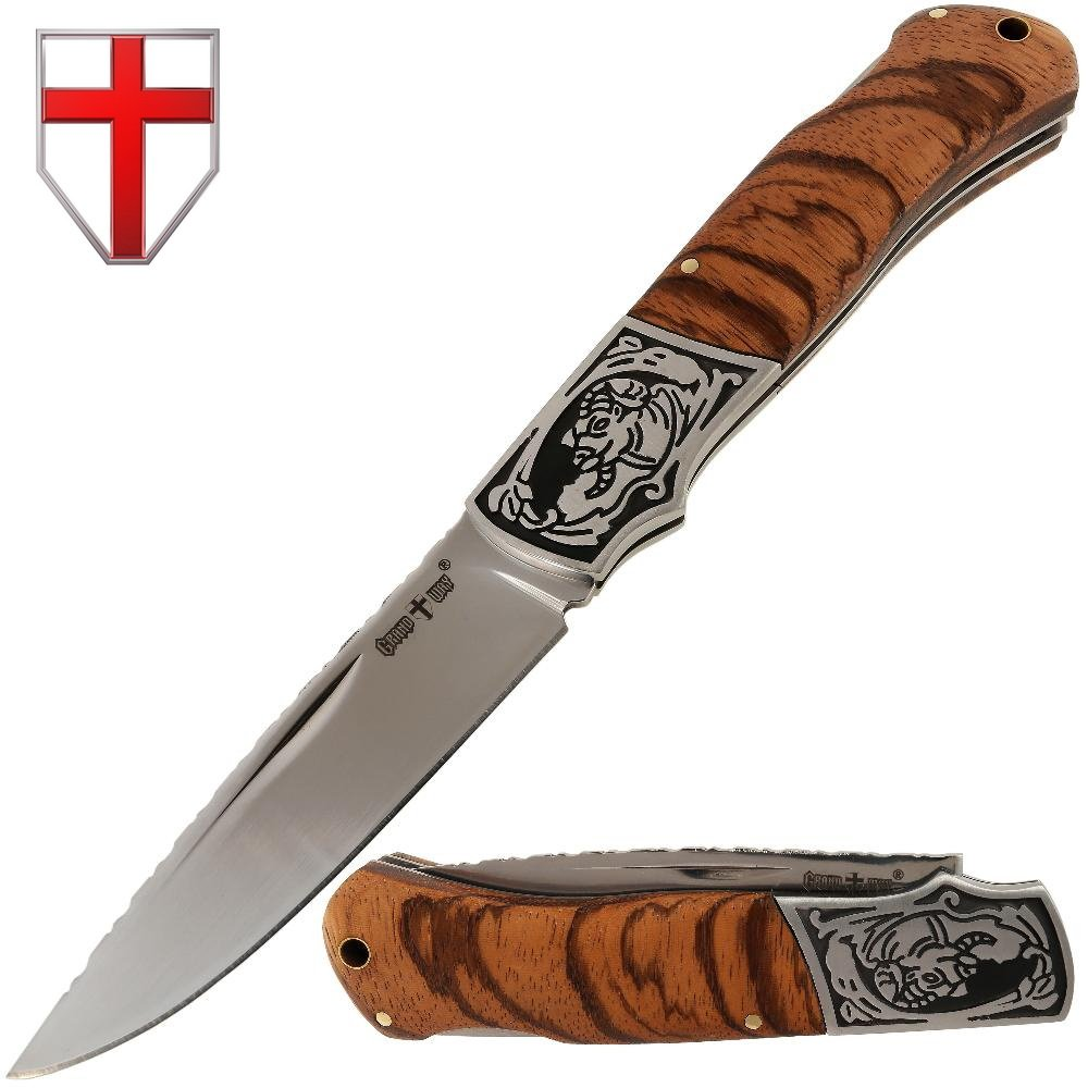 Folding Knife - Decorative Pocket Knife for EDC and Outdoor - Classic Blade and Wooden Inlays on Handle - Grand Way FB 0017 by Grand Way (Image #1)