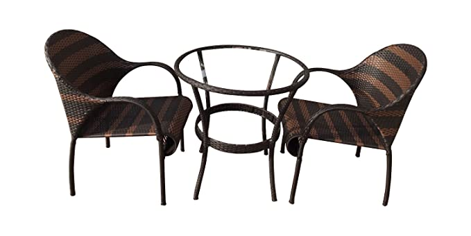 VIRASAT FURNITURE & FURNISHING Multipurpose 2 Chair Set with 1 Table without Glass (Brown)