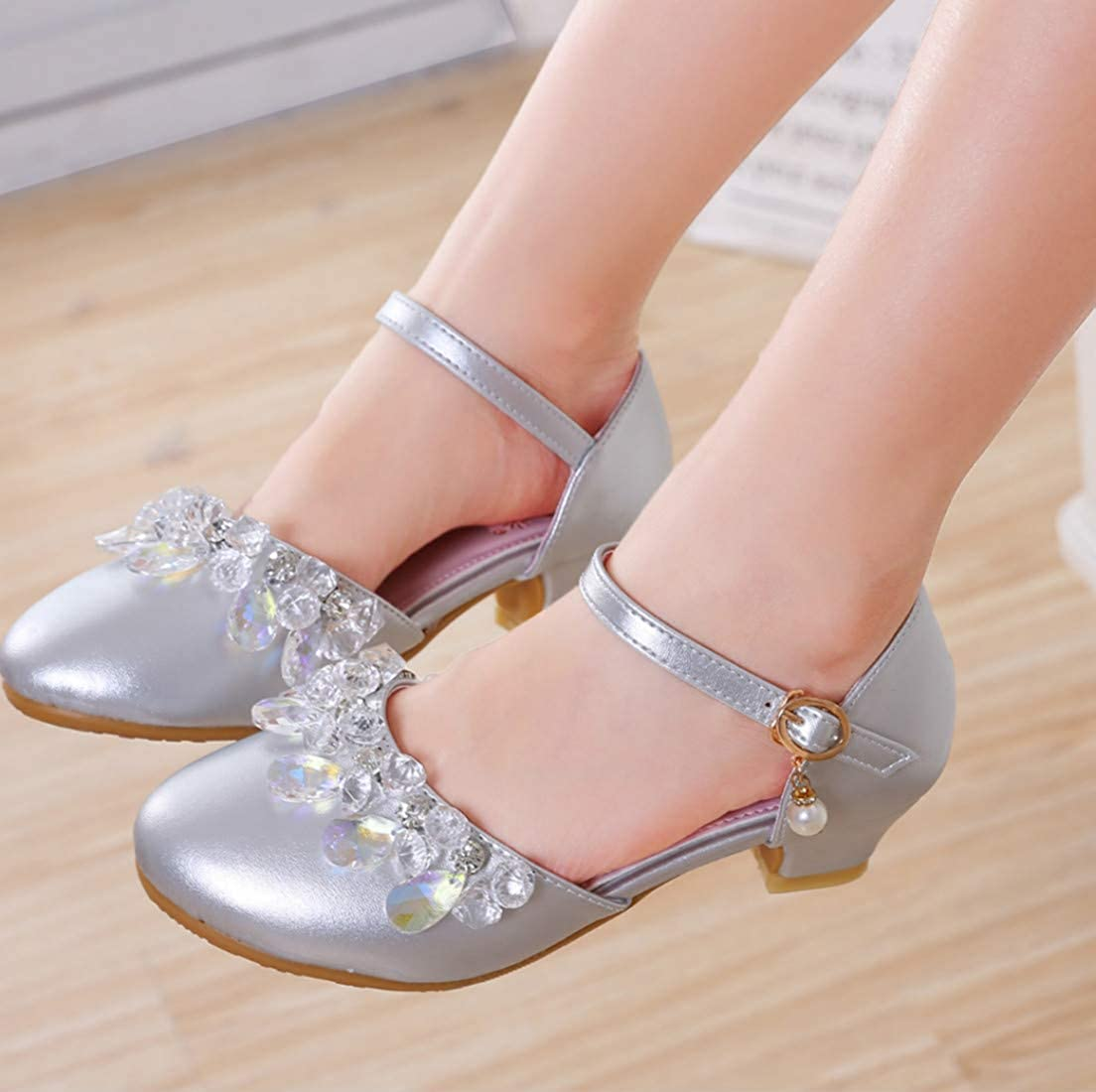 Hook-and-Loop Low Top Toddler//Little Kid VECJUNIA Girls Mary Jane Flats Shoes Rhinestones Flowers Party Ballet