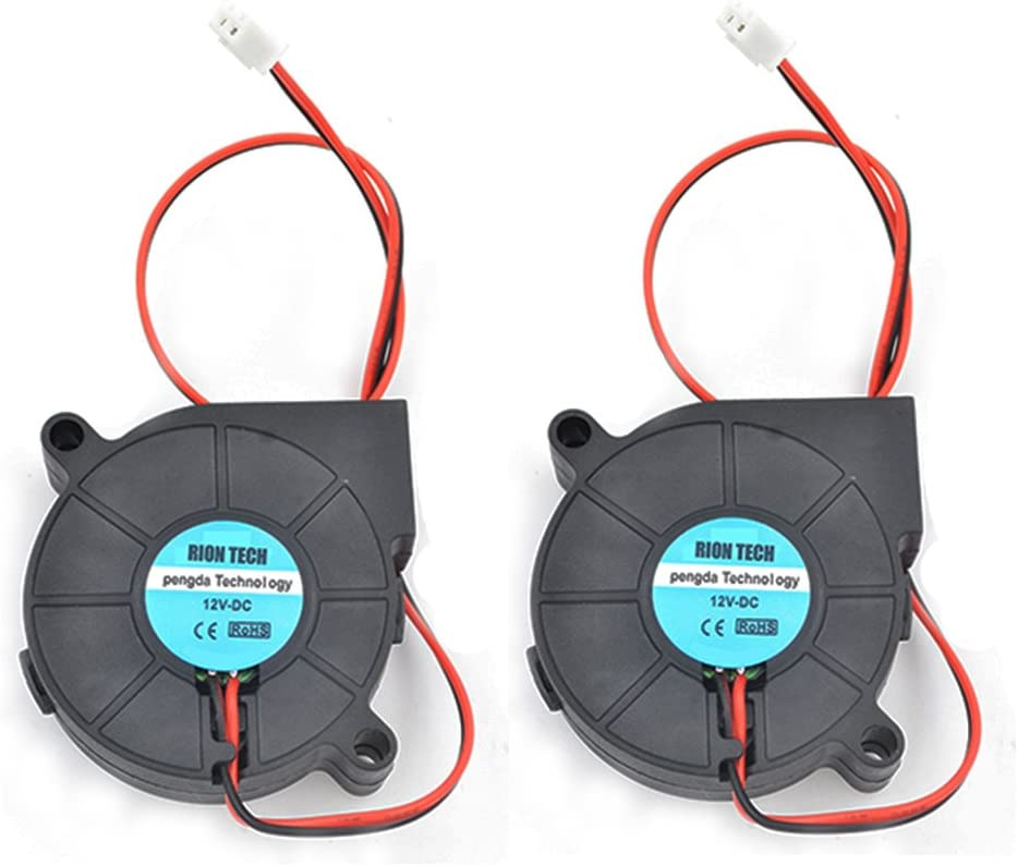 RION TECH 2pcs Cooling Blower Fan DC 12V 50x50x15mm 5015 Fans for 3D Printer Humidifier Aromatherapy and Other Small Appliances Series Repair Replacement