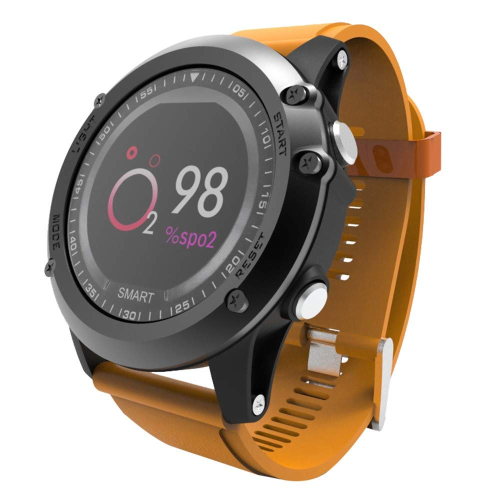 Buybuybuy T2 Bluetooth Smart Watch, Fitness Tracker Color OLED Screen IP68 Waterproof Heart Rate Blood Pressure,Sleep Monitor Multi-Sport Mode Long Standby Sports Watch for Android iOS (Orange)