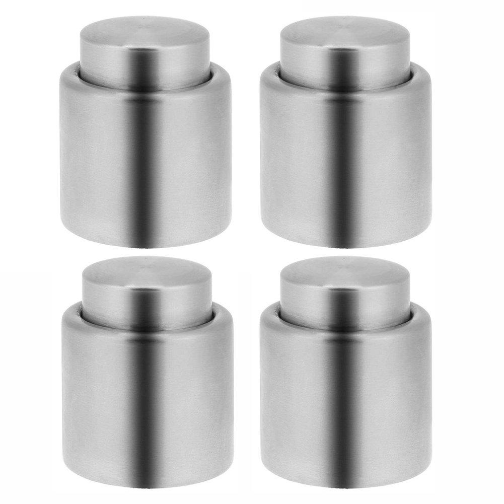 BTMB Stainless Steel Wine Sealer Champagne Sealer Vacuum Wine Stopper Plug Pack of 4