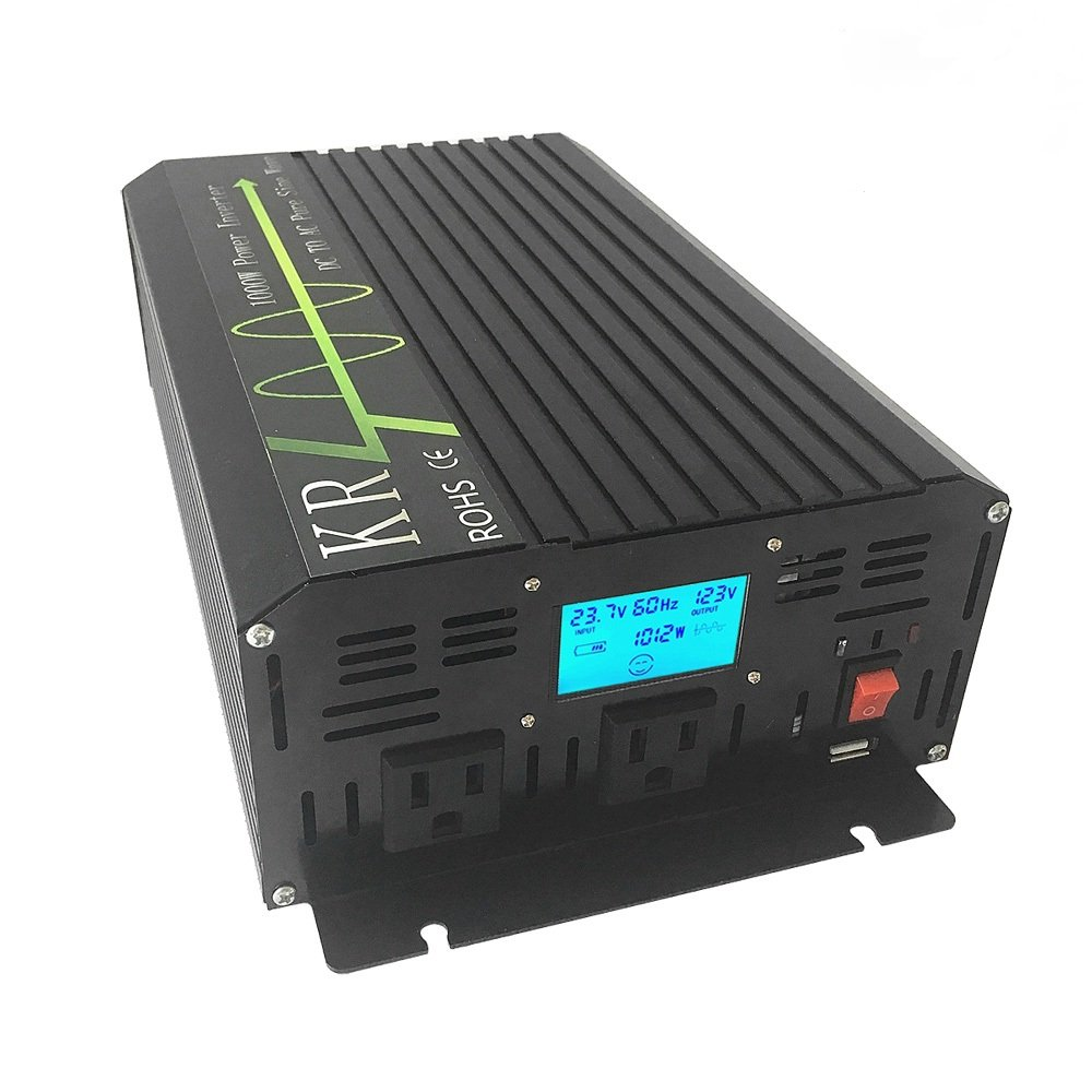 KRXNY 1000W 24V DC to 110V 120V AC 60HZ Off Grid Pure Sine Wave Power Inverter for Home Solar Power System with USB Port LCD Display by KRXNY