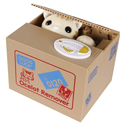 Free Fisher Elektronische Spardose Gelbe Katze im Korb