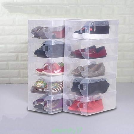 XZDXR Caja De Almacenamiento, Caja De Zapatos 20Pcs Caja De Zapatos Apilable Caja De Almacenamiento Zapatos De Plástico Transparente Caja De Almacenamiento Damas Hombres: Amazon.es: Hogar