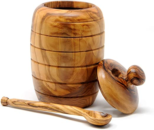 Hand-carved Olive Wood Sugar Bowl and Coffee Spoon