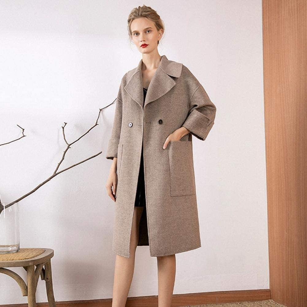 WDAYI Cappotto da Donna in Lana Cappotto da Donna Collo Ampio in Cashmere Double Face Sciolto Grey
