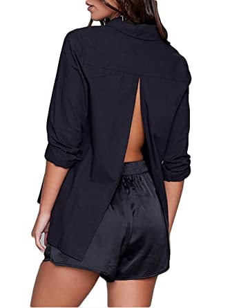 bd415fa246c USGreatgorgeous Womens Sexy Backless Button up Slit Back Blouse Tops Casual  T Shirt (Black