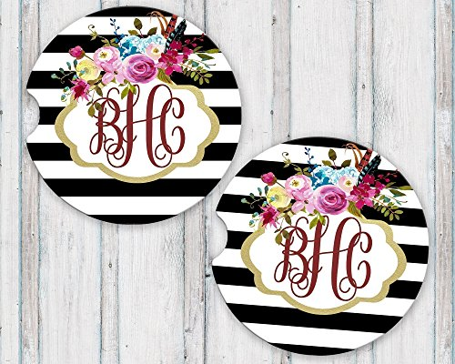 Personalized Gift Floral Bouquet - Sandstone Car Coasters Personalized Monogram Gold Frame Black and White Stripes Boho Floral Set of 2