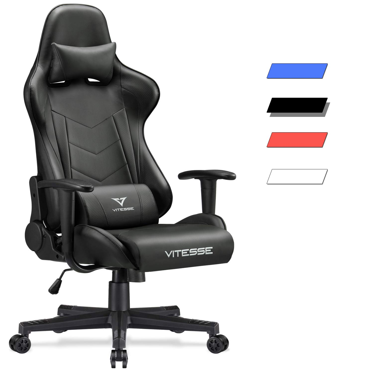 Vitesse Gaming Chair (Sillas Gaming) Video Gaming Chair Ergonomic Computer Desk Chair High Back Racing Style Comfortable Chair Swivel Executive Leather Chair with Lumbar Support and Headrest (Black) by Waleaf