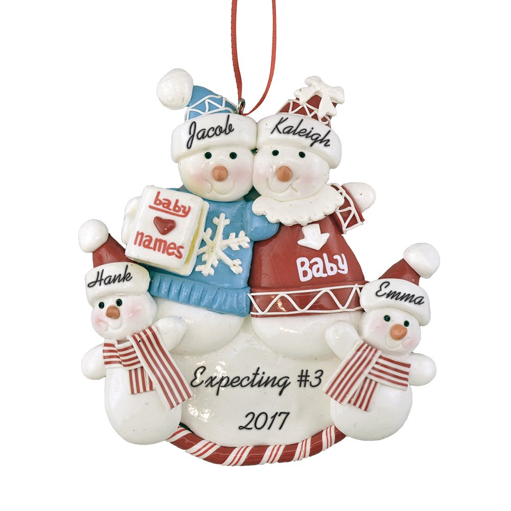 "Calliope Designs Expecting a Third Baby Personalized Christmas Ornament - Pregnant Family 5"" Tall - Free Customization"