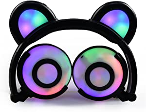 GZCRDZ Kids Headphones Bear Ear-Inspired USB Rechargeable LED Backlight,Wired On/Over Ear Gaming Headsets 85dB Volume Limited for Girls,Boys,Compatible for Kids Tablet,iPad,iPhone,Android,PC(Black)