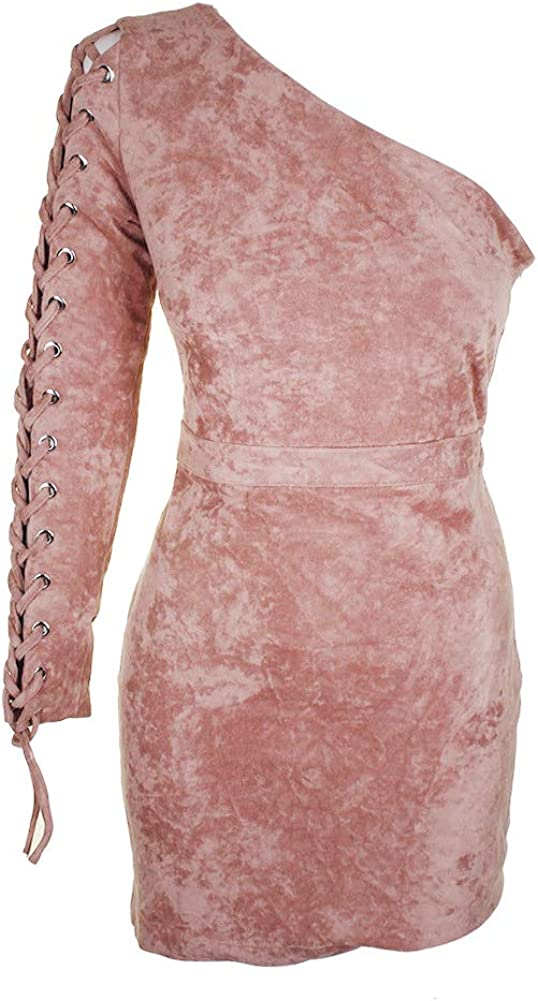 endless rose Womens One Shoulder Faux Suede Bodycon Dress