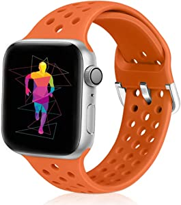 Runostrich Sport Band Compatible with Apple Watch Band 40mm 38mm, Soft Silicone Replacement Breathable Strap Compatible iWatch SE Series 6 5 4 3 2 1 for Women Men (Orange, 38mm/40mm)