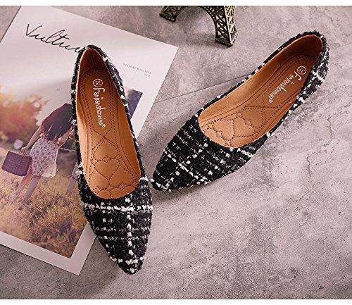 avec Femme d'Empeigne Derby Bout Légère Noir Chic JRenok Motif Mode Confortable Ballerine Pointu Chaussure Simplicité 5wPXPZ8xq