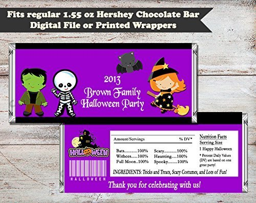 Costume Kids Halloween Personalized Candy Bar Wrapper, Set of 10 -