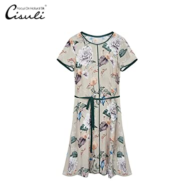 f51d7b85268d Amazon.com  SIXIULIYU Women Dresses 100% Silk Dress Classic Elegant Ladies  Printing Silk Double Geogette Crepe Fabric Summer Dresses  Clothing