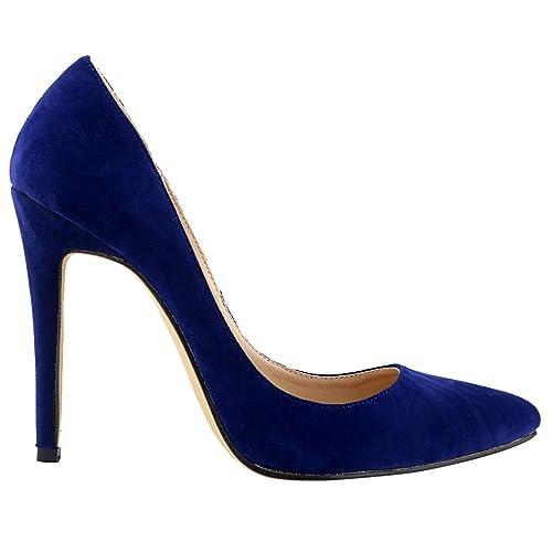 a7149155a99 LOSLANDIFEN Womens Closed Toe High Heels Pointed Slender Stiletto Pumps(302 -1VE36
