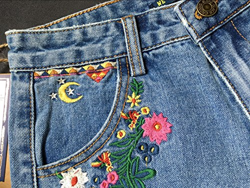 Bleu Shorts Big Shorts Ladies Blue Loose Denim 2 Rtro lastique Denim Irrguliers Light Casual Taille Haute Pants Hot Bohemian Beautisun Shorts OHE7E