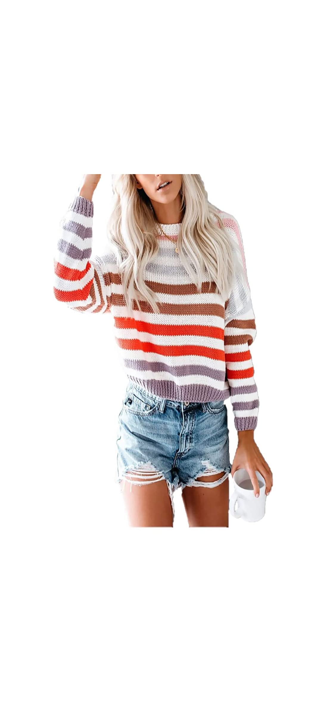 Women Sweaters Long Sleeve Crew Neck Color Block Striped