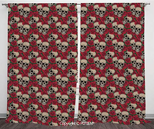 Satin Window Drapes Curtains [ Rose,Graphic Skulls and Red Rose Blossoms Halloween Inspired Retro Gothic Pattern,Vermilion Tan Green ] Window Curtain Window Drapes for Living Room Bedroom Dorm Room Cl]()