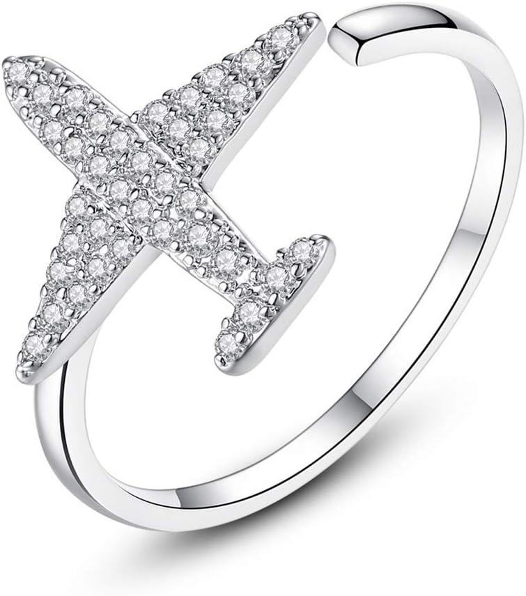 Allring argento anelli da donna fasce semplice doppio anello di cristallo a forma di cuore aperto anello argento anello elegante regalo di nozze gioielli per donne ragazza da donna