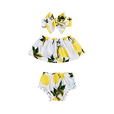 3d489681a952c7 3Pcs Lemon Prints Pant Set for Baby Girls Summer Outfit Tops Pants Headband  Beach Dress Sightseeing