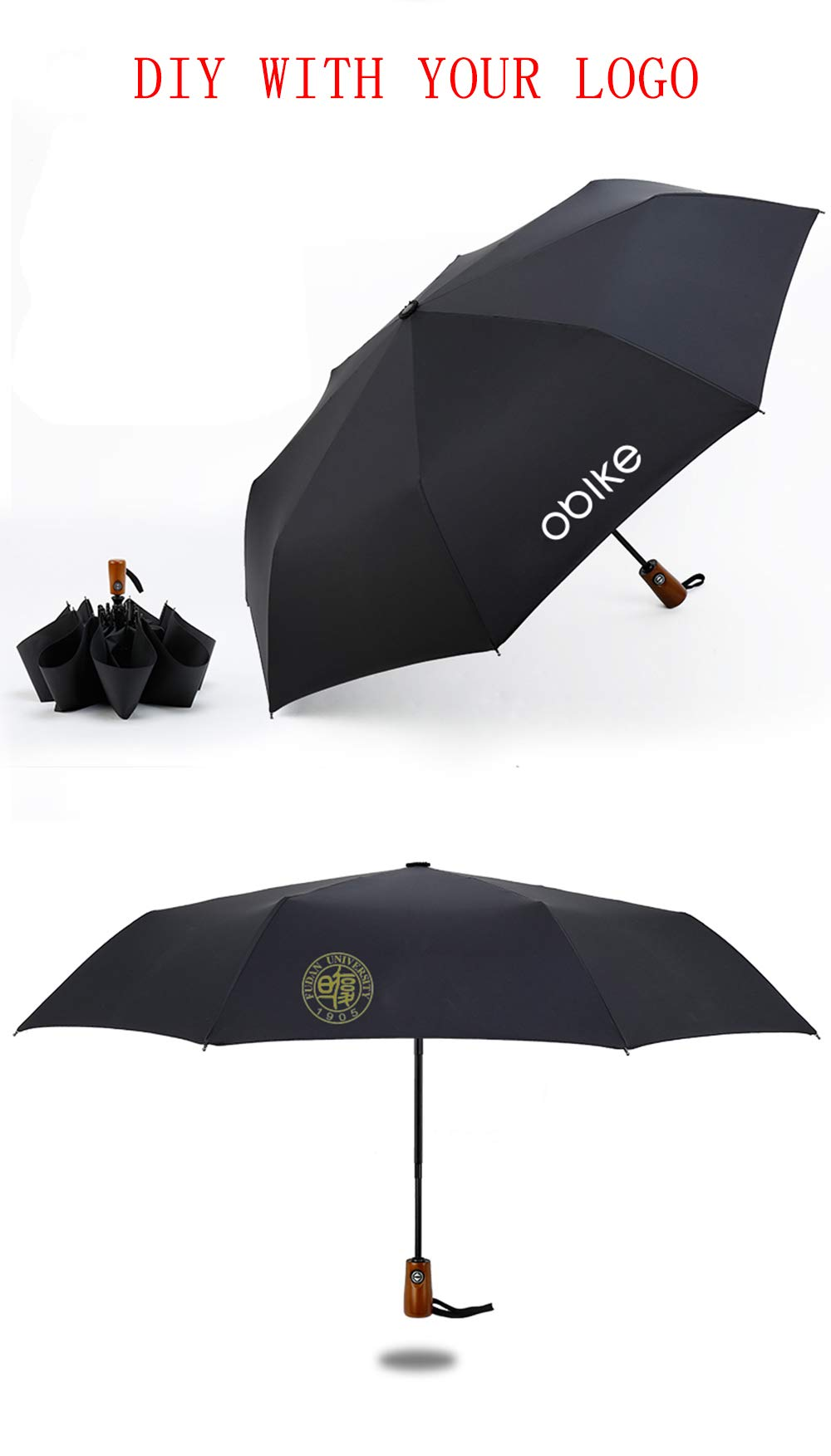 Custom-made Personalized Umbrella Design Your Own Logo/Image for Rainy/Sunny Folding Umbrellas (Including 5 pieces)