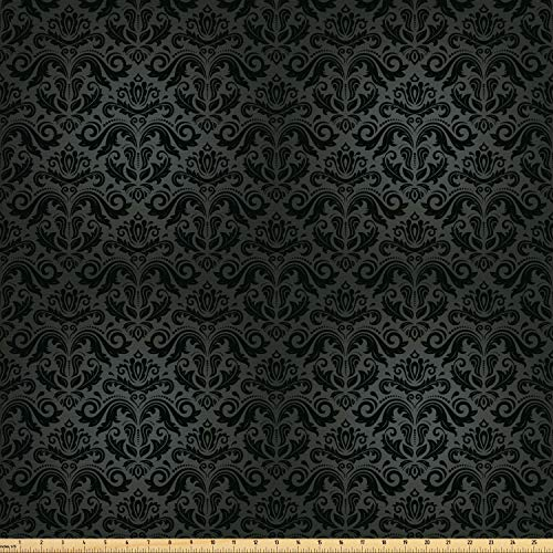 Ambesonne Dark Grey Fabric by The Yard, Black Damask Arabesque and Floral Elements Oriental Antique Ornament Vintage, Decorative Fabric for Upholstery and Home Accents, 3 Yards, Black Grey