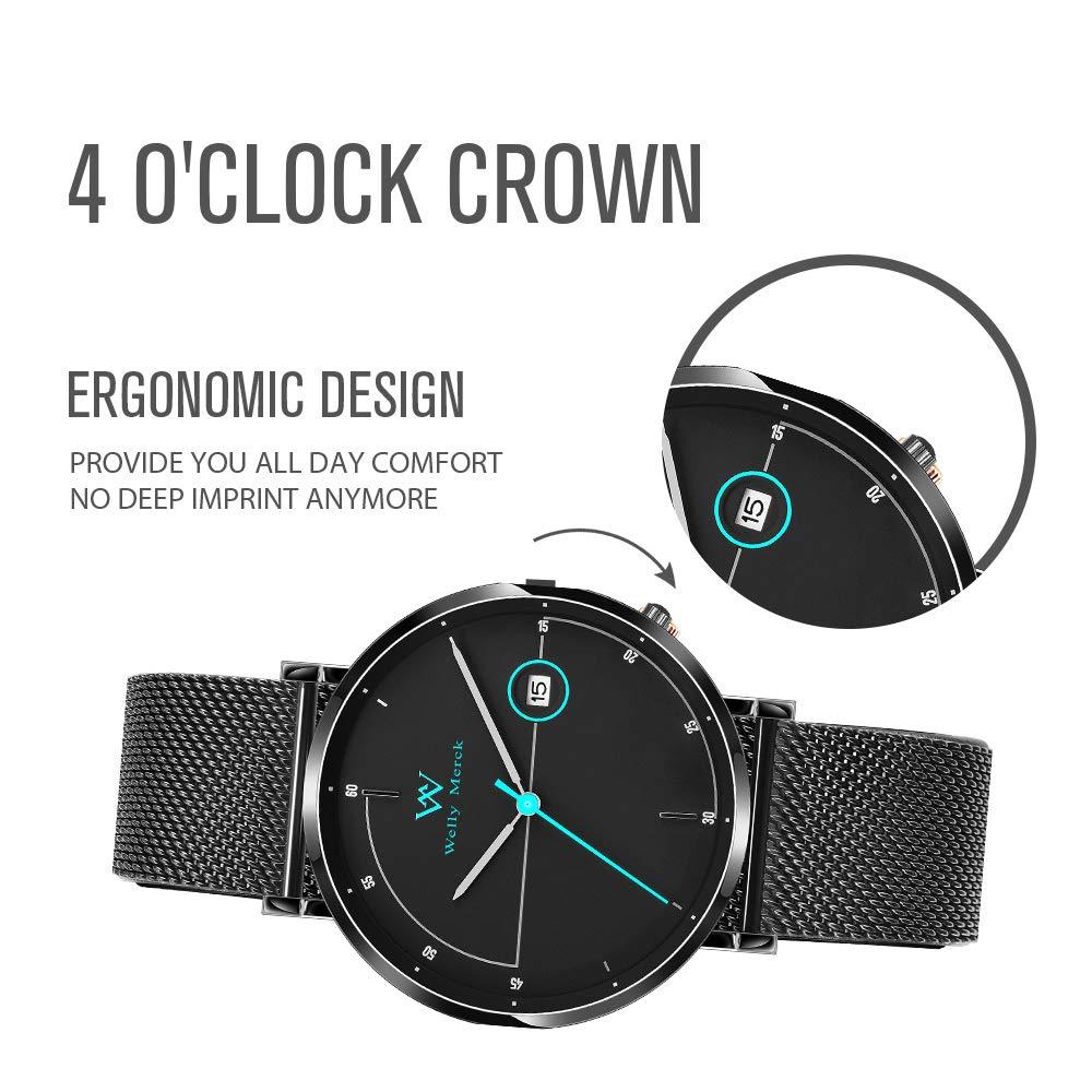 Welly Merck Reloj Analógico para Hombre Cuarzo Suizo Pulsera con Acero Negro WM-C20M242: Amazon.es: Relojes