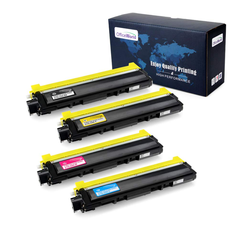 Office World Compatible Toner Cartridge Replacement for Brother TN210 TN-210 (1 Black, 1 Cyan, 1 Magenta, 1 Yellow), Work with Brother MFC-9320CW MFC-9325CW MFC-9120CN HL-3070CW HL-3075CW HL-3040CN