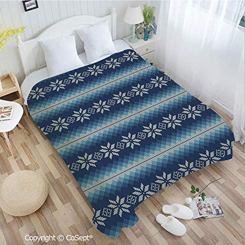 - PUTIEN Luxury Flannel Blanket,Traditional Scandinavian Needlework Inspired Pattern Jacquard Flakes Knitting Theme Decorative,fit Couch Sofa Suitable for All Season(55.11