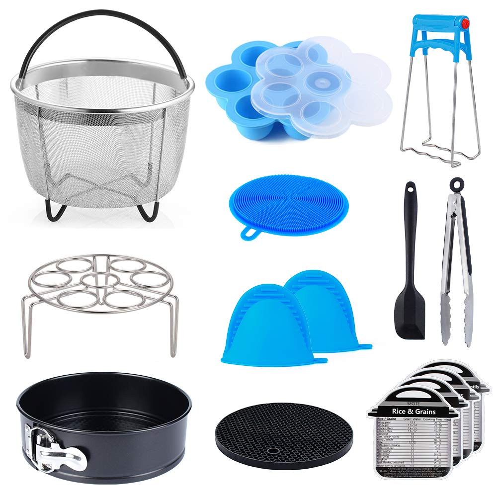 15 pcs Accessories Compatible with Instant Pot Pressure Cooker 6, 8Qt - Steamer Basket, Egg Rack, Springform Pan,Egg Bites Mold,Magnetic Cheat Sheets,Oven Mitts,Tongs,Spatula & Scrubber & Trivet Mat by SECITE
