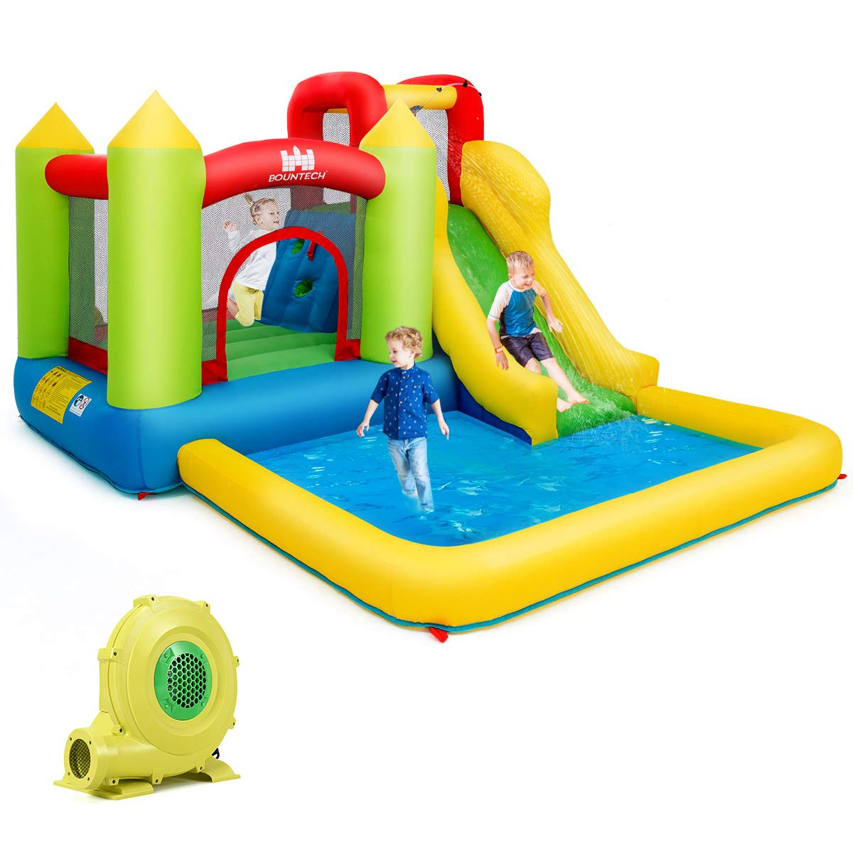 Costzon Inflatable Bounce House, Kids Water Slide with Climbing Wall, Jumping Area, Plash Pool, Including Oxford Carry Bag, Repairing Kit, Stakes, Hose (with 680W Air Blower) by Costzon