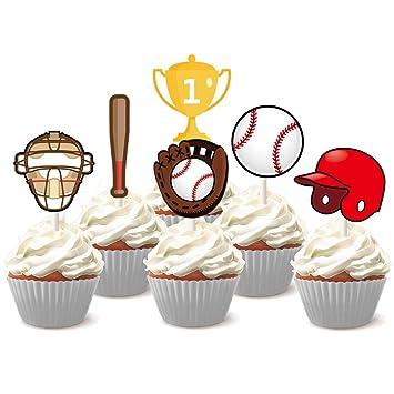 Kreatwow 24 Béisbol Cupcake Toppers Decoración Para Pastel