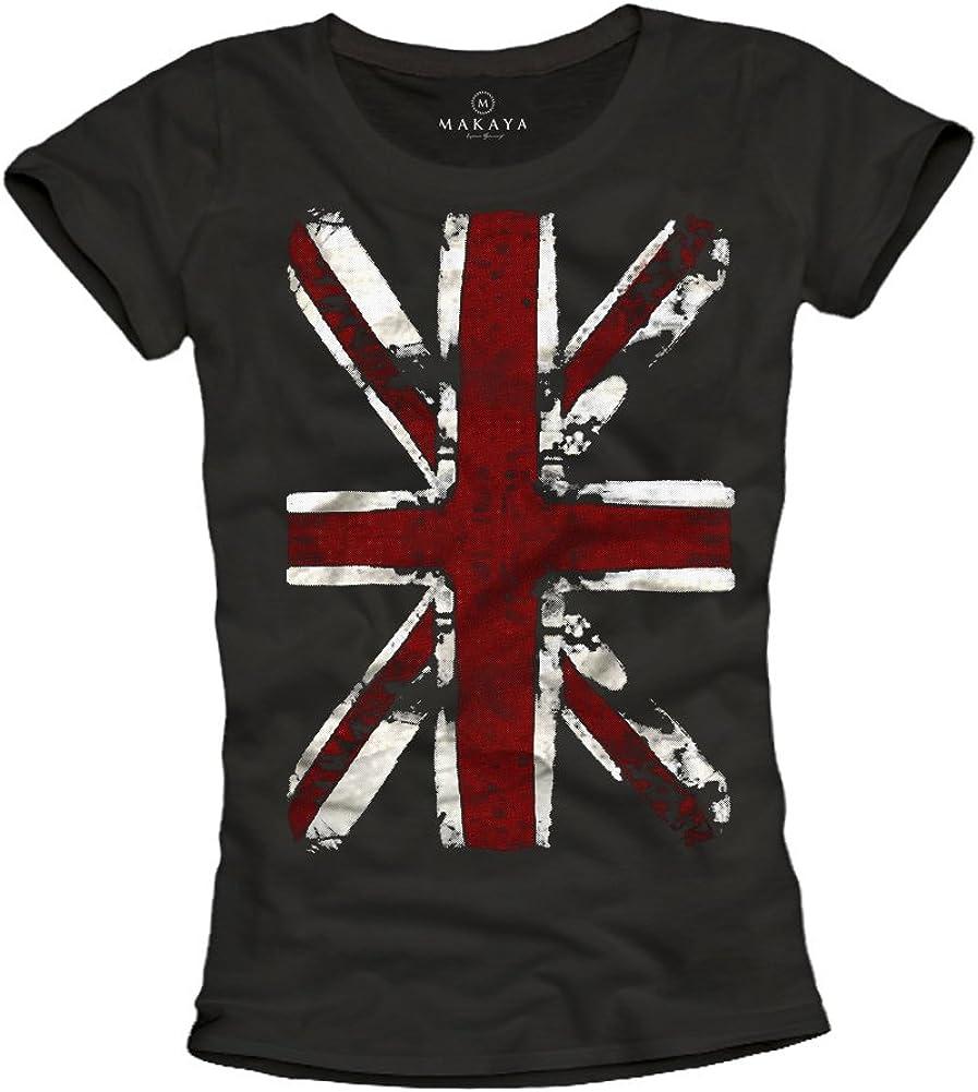 Donna T-SHIRT-UK con Union Jack Bandiera-NERO-UNITED KINGDOM INGHILTERRA...