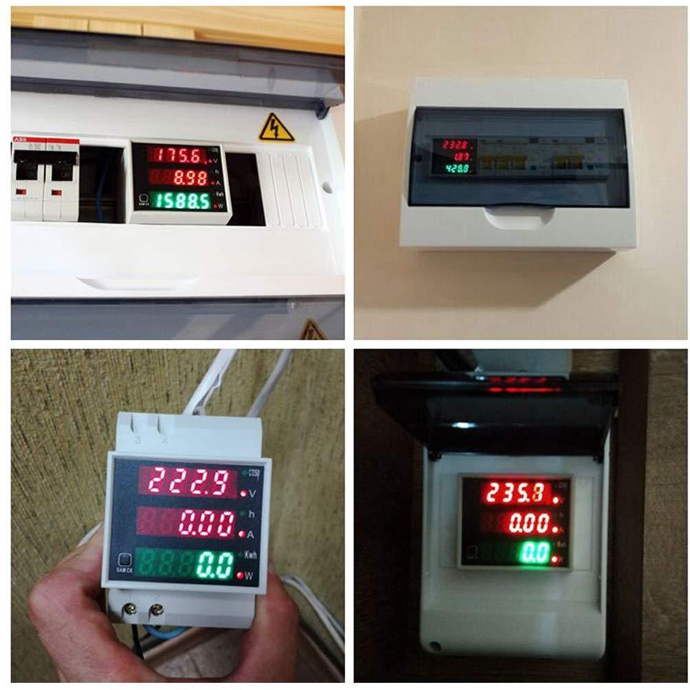 White KETOTEK Voltage Ammeter Tester Digital AC 80-300V//100A Power Meter Voltmeter Din Rail Volt Amp Multimeter LED Display Voltage Tester Volt for Machine Industry Indoor Outdoor