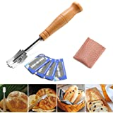 Premium Hand Crafted Bread Lame Slashing Tool Dough Knife with 5-Piece Razor Blade, Baker's Knife scribing Knife Leather…