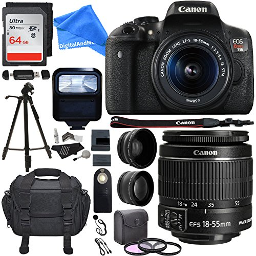 Canon EOS Rebel T6i 24.2 MP DSLR Camera, 18-55mm f/3.5-5.6 STM Lens, .43x Wide Angle & 2.2X Telephoto Lens, 64 GB + 57'' Tripod, 58mm Filter Kit, Bag and DigitalAndMore Accessory Bundle by DigitalandMore