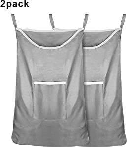 Arkmiido Hanging Laundry Hamper Bag for Families, Portable Kids Door Hanging Laundry Bag Large, Space Saving Hanging Storage Organizer Bag with Door Hooks and Wall Hooks(2 Pack Grey)