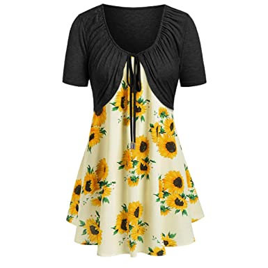 62a24fb5a2e Dress for Women Two Piece Short Sleeve Sunflower Printed Strappy Pleated A  Line Flowy Summer Tunic