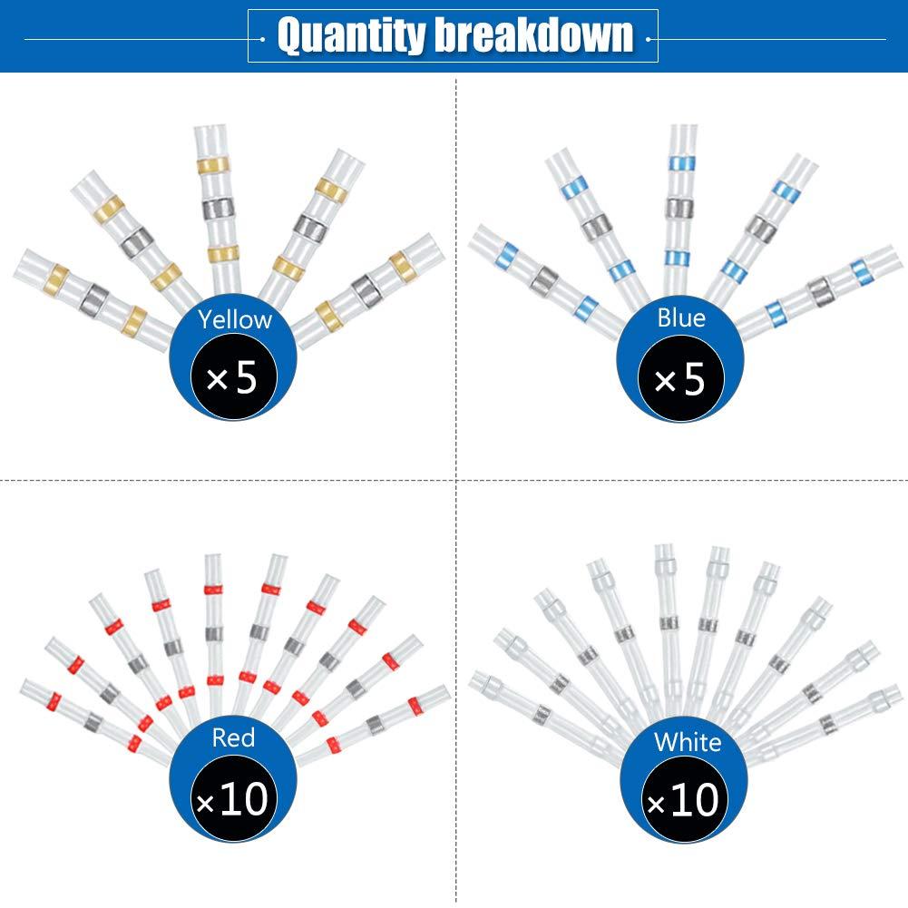 . Connecteurs de fil /à souder 10 blancs, 10 rouges, 5 bleus, 5 jaunes 30 pi/èces 4 tailles /étanches thermor/étractables en cuivre pour /étanch/éit/é et ignifuge