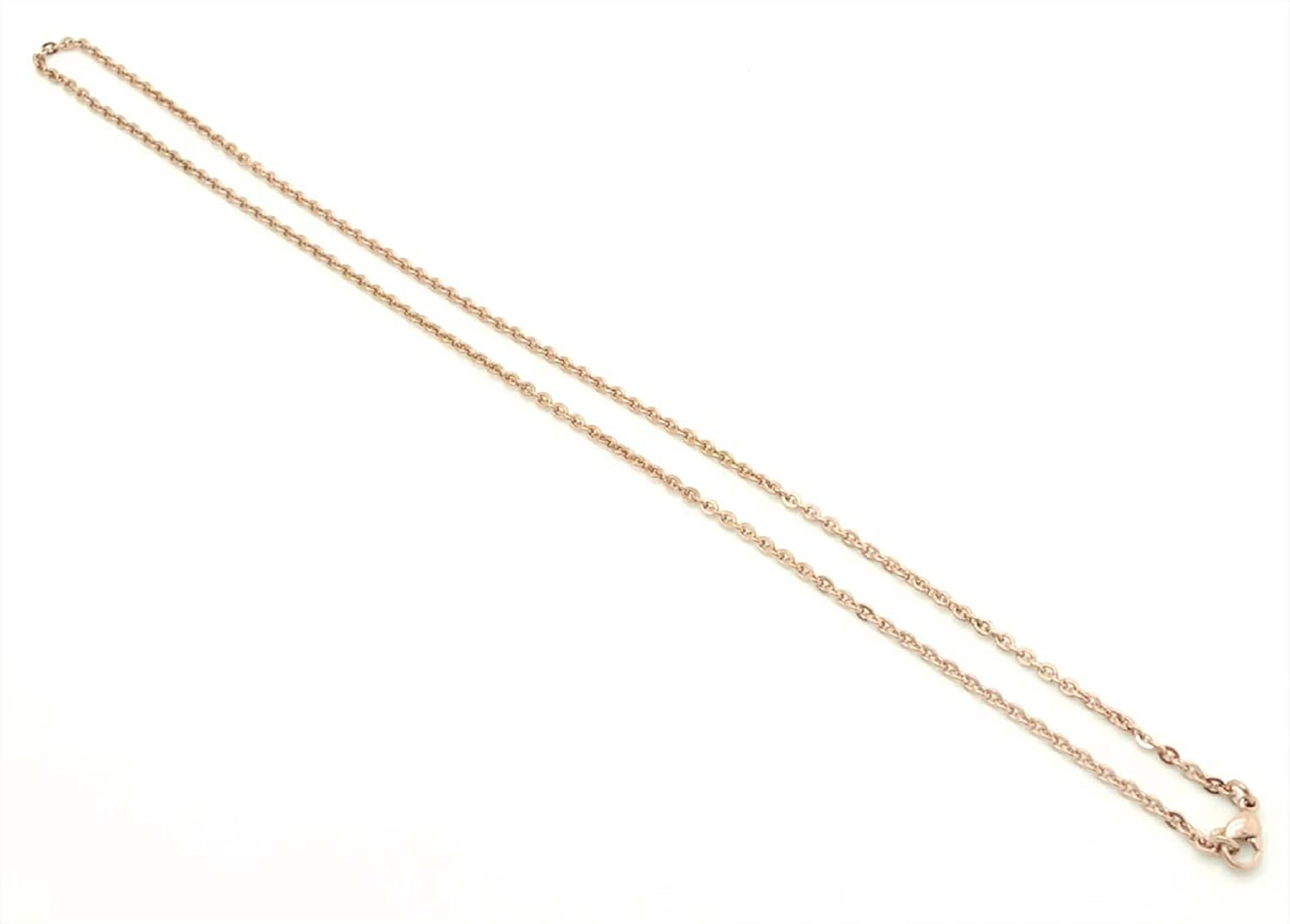 Chelsea Jewelry Basic Collections 30 18K Rose Gold Flat Cable Chain Necklace