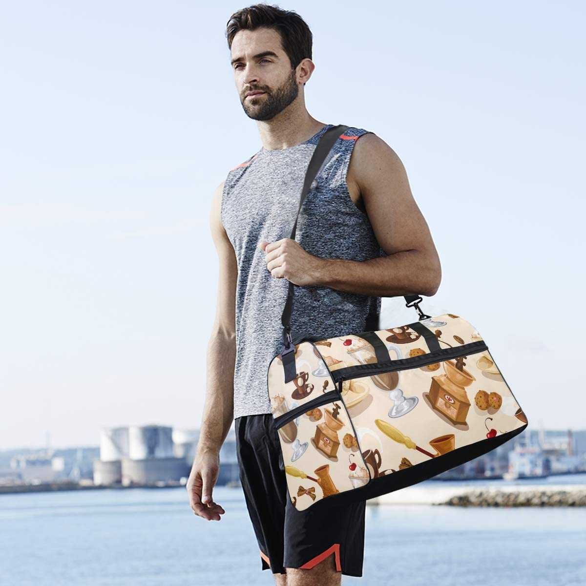 Coffee With Dessert Sports Gym Bag with Shoes Compartment Travel Duffel Bag for Men Women