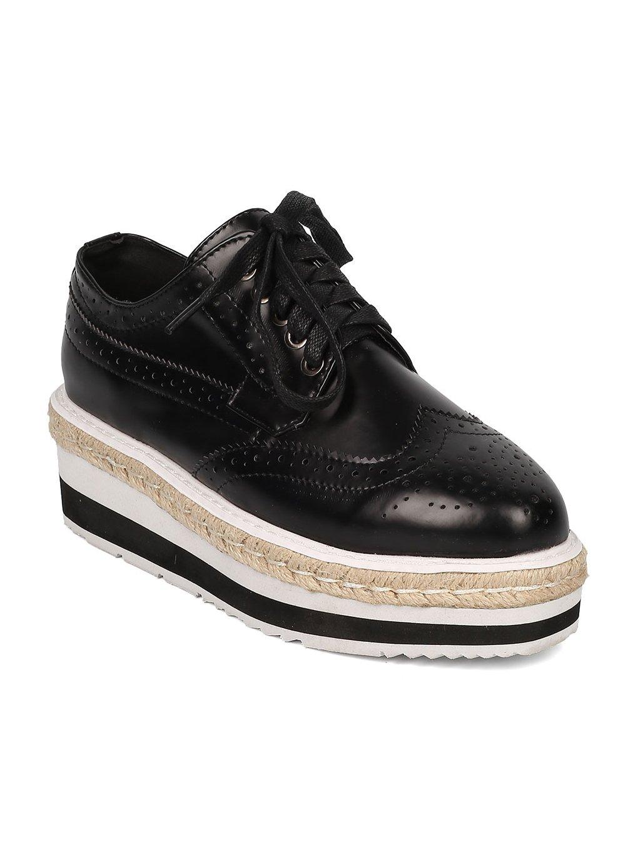 Indulge Heart.Thentic Luann-10 Women Leatherette Espadrille Flatform Spectator Sneaker HA14 - Black Leatherette (Size: 7.5)