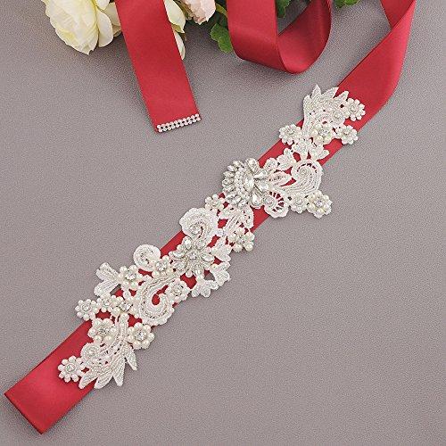 Belt Women's Belt Bridal Burgundy S157 Sash Wedding ULAPAN Dress Pearls Sash Rhinestones FwxHx1aqT