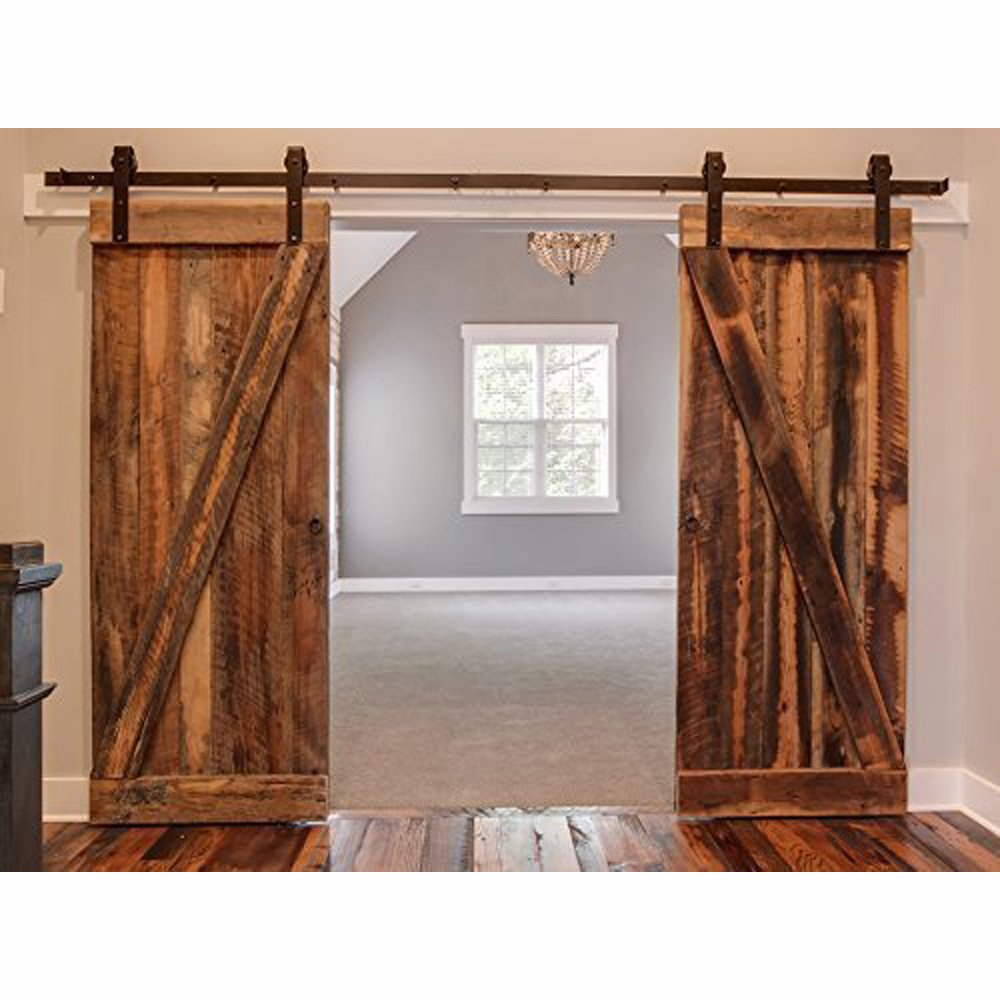 Amazon winsoon 8ft antique double sliding barn door hardware amazon winsoon 8ft antique double sliding barn door hardware roller track kit black home improvement vtopaller Image collections